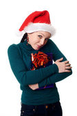 Christmas woman smiling — Foto Stock