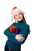 Christmas woman smiling. — Stockfoto