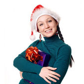 Christmas woman smiling — 图库照片