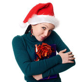Christmas woman smiling — Stockfoto