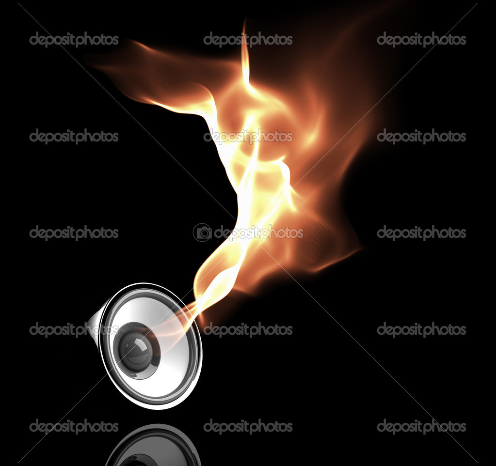 Black speaker with fiery sound waves  Stock Photo #1014816