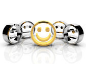 Gold smiley leadership concept — Stock Photo