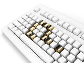 Keyboard with gold question-mark concept — Stock Photo