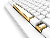 Keyboard with gold exclamation mark — Stock Photo