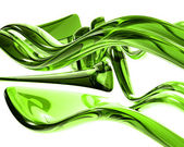 3d bright green glass waves — Stockfoto