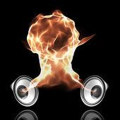 Audiosysteem met vurige geluidsgolven — Stockfoto