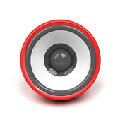 Red speaker over white background — Stockfoto