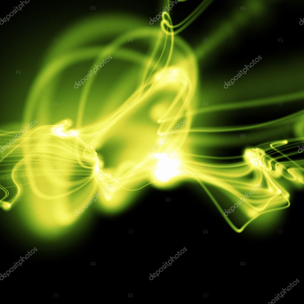 Bright green wavy smooth neon background in perspective  Stock Photo #1023113