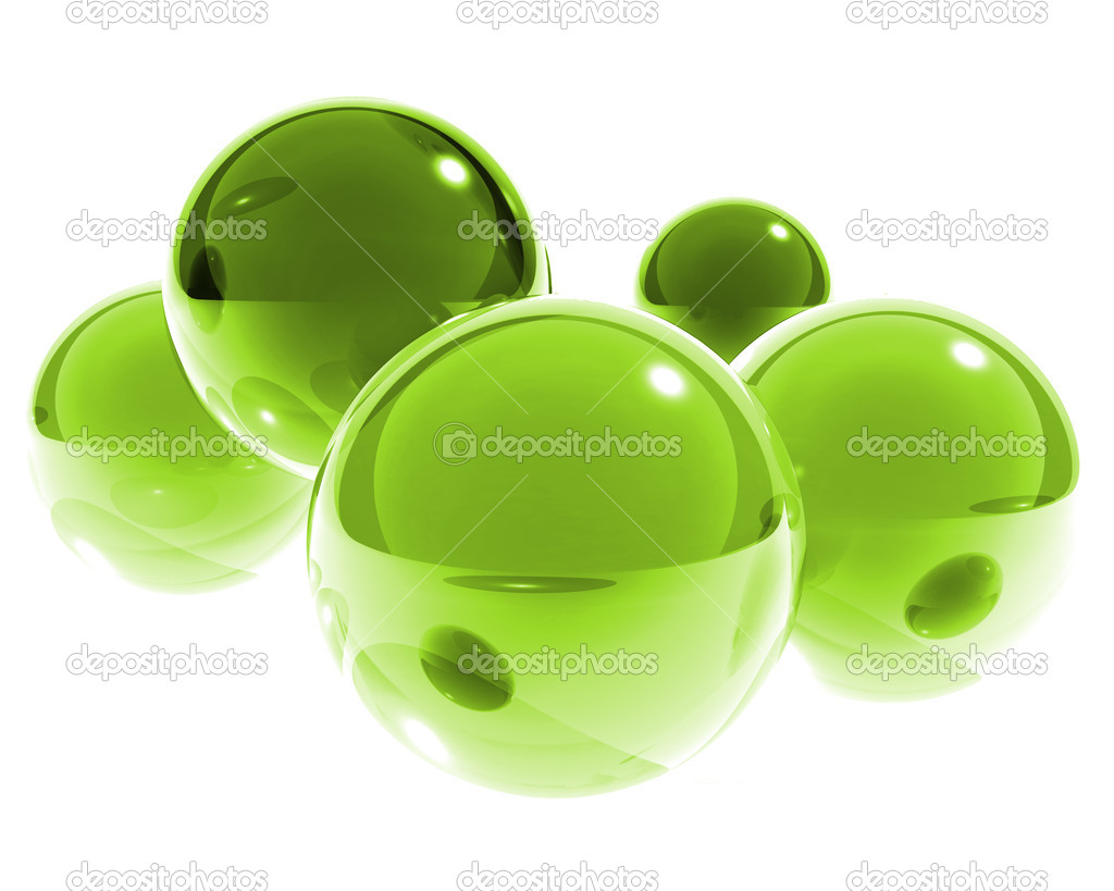 Bright green glass spheres  Stock Photo #1027884