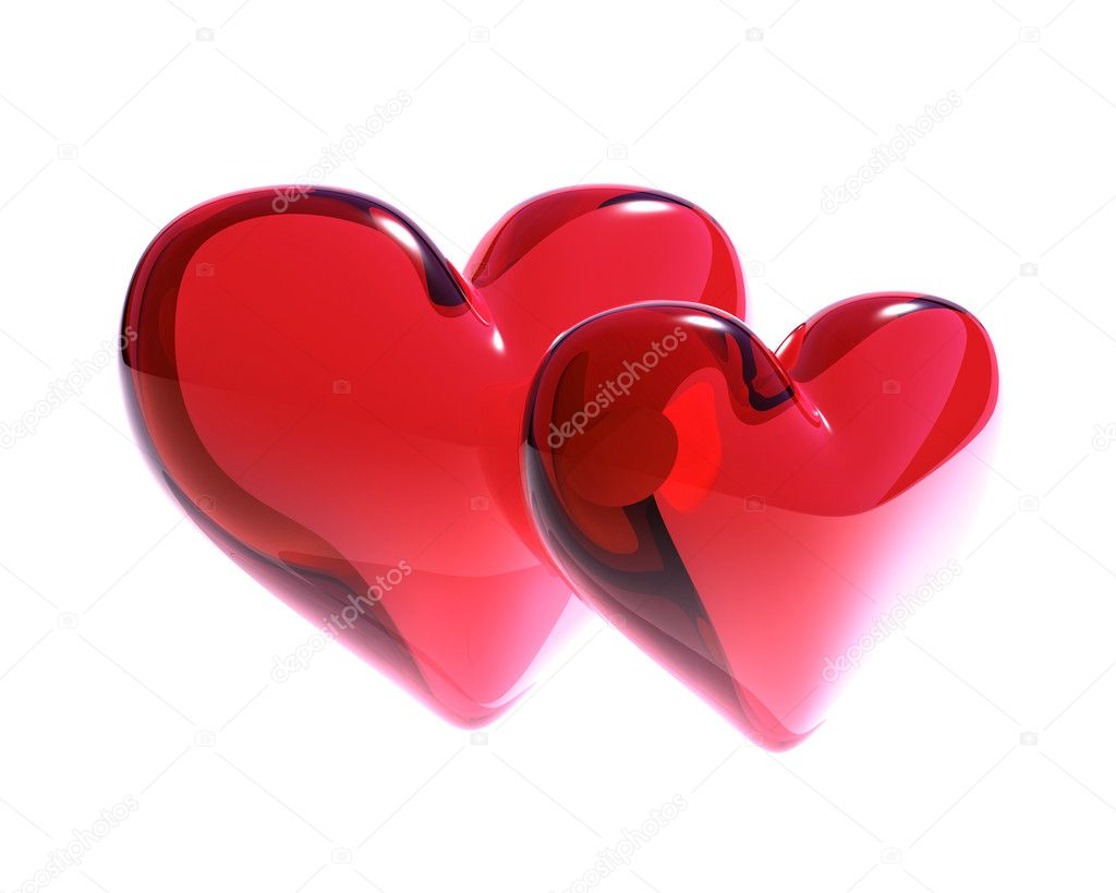 Two red glass hearts isolated — Stock Photo #1030238