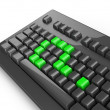 Green keyboard question — Stock Photo