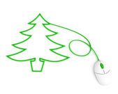 Christmas tree depicted with mouse cable — Stock Photo