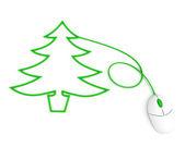 Kerstboom afgebeeld met muis kabel — Stockfoto