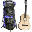 Tourist rucksack  and guitar — Stock Photo