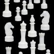 Complete of white chessmen — Foto de stock #1044598