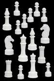 Beyaz satranç figürleri ile tamamlamak — Stok fotoğraf