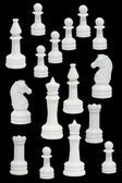 Komplett med vit chessmenna — Stockfoto