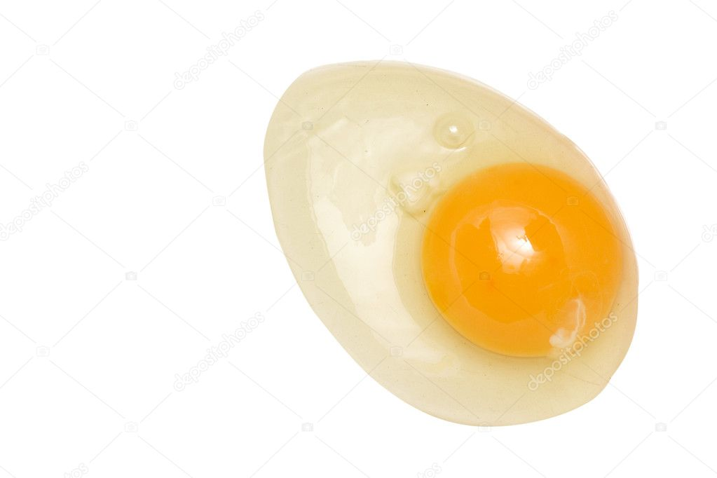 Spilled raw yolk under the white background — Stock Photo #1046214