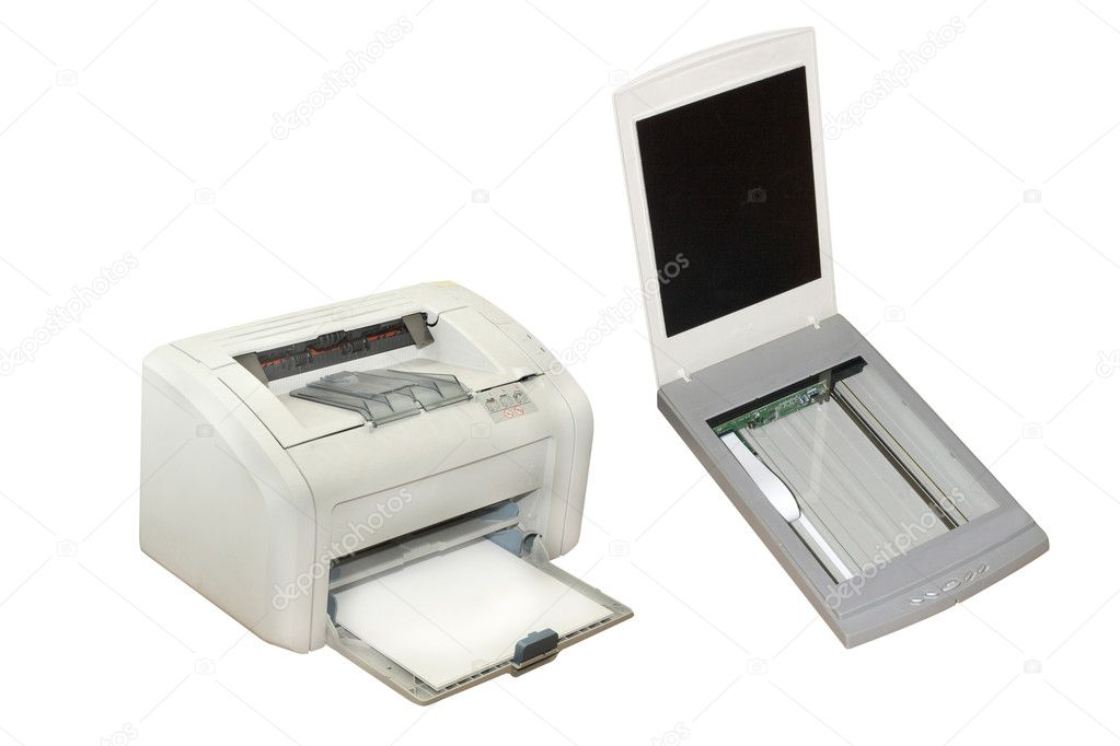 Printer and scanner under the white background — Stock Photo #1128474