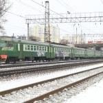 Railway and electric train — Stock Photo