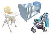 Child's chair, bed and perambulator — Stock Photo