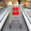 Shopping trolley on the elevator — Stock Photo