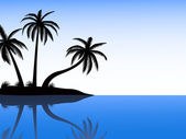 Silhouette of island with palms — Stock Vector