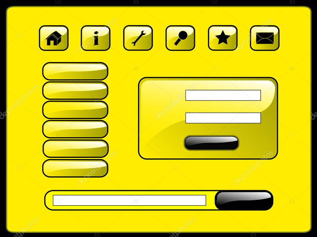 Web page set include himself buttons of tools, menu, login form, search bar — Imagen vectorial #1027338