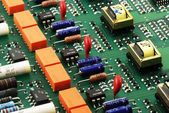 Circuit board side view — Stock Photo