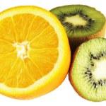 Cut orange and kiwi fruit — Stock Photo #1067892