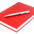 Red diary and silver pen — Stock Photo