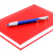 Red diary and blue pen — Stock Photo