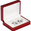 Silver cuff links in red box — Stockfoto