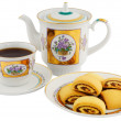 Royalty-Free Stock Photo: Tea cup, teapot and biscuits