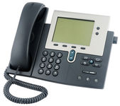 Office IP telephone above view — Stok fotoğraf