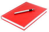 Red diary and fountain pen — Stock Photo
