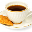 Coffee cup and biscuit - Stock Photo