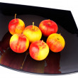 Stock Photo: Apples on black plate