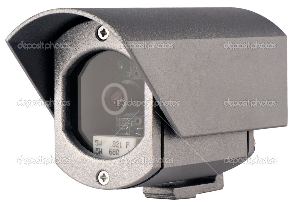 Supervision video camera in metal case isometric view isolated on white — Stock Photo #1118719