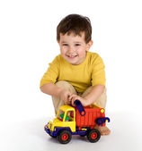 Boy and truck — Stock Photo