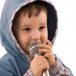Child with a microphone — Stock Photo