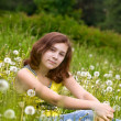 Royalty-Free Stock Photo: Girl is in dandelions