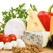 Cheese with vegetables — Stock Photo