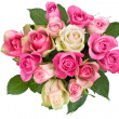 Bouquet of white-pink roses — Stock Photo