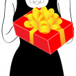 Royalty-Free Stock Vector Image: Woman with a gift