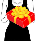 Woman with a gift — Stock Vector