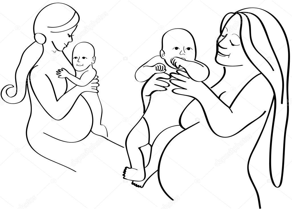 Как нарисовать беременную девушку с ребёнком 93