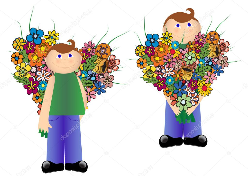 Boy with flowers designed to form the heart, the two situations. Vector. — Stock Vector #1082756