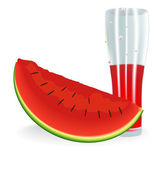 Watermelon in the section and a glass of juice. Vector. — Stock Vector