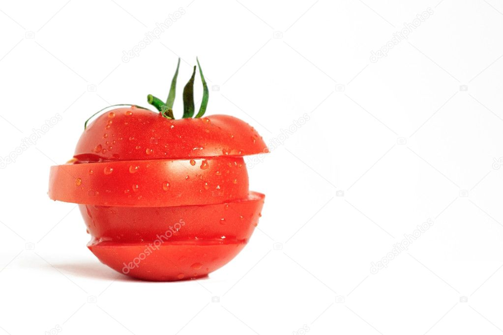 Sliced ripe tomato slices on a white background — Stock Photo #1010663
